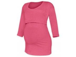Kojící a těhotenské tričko se 3/4 rukávem - Zoe lososově růžová