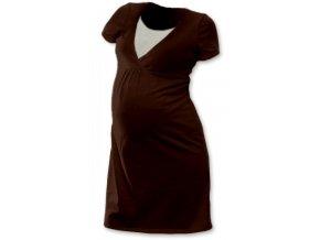 Těhotenská a kojící noční košile - Lucie hnědá