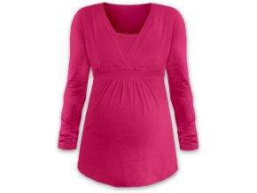 Kojící a těhotenská tunika s dlouhým rukávem - Anička tm. růžová