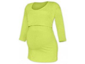 Kojící a těhotenské tričko se 3/4 rukávem - Zoe sv. zelená