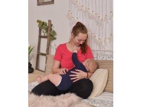 Kojící a těhotenské tričko s krátkým rukávem - Zoe lososově růžová