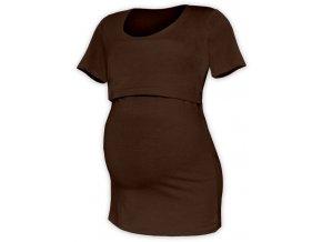 Kojící a těhotenské tričko s krátkým rukávem - Kateřina hnědá, vel. XS/S, M/L a L/XL