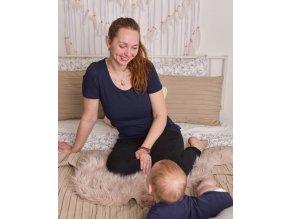 Kojící a těhotenské tričko s krátkým rukávem - Kateřina tm. modrá