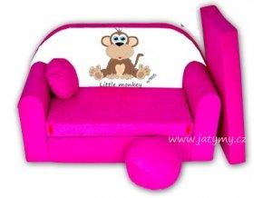 Rozkládací pohovka - Little monkey růžová