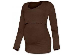 Kojící a těhotenské tričko s dlouhým rukávem - Kateřina hnědá, vel. XS/S a L/XL