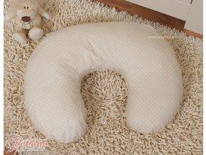 Povlak na kojící polštář - Srdíčka béžové s tečkami