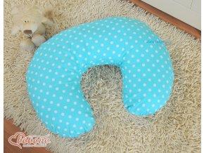 Povlak na kojící polštář - Srdíčka tyrkysová s puntíčky