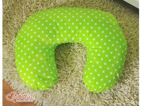 Povlak na kojící polštář - Srdíčka zelené s puntíčky