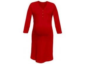 Těhotenská/kojící noční košile se 3/4 rukávem - červená, vel. M/L a L/XL