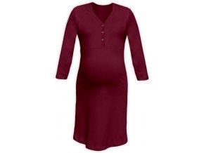 Těhotenská/kojící noční košile se 3/4 rukávem - bordó