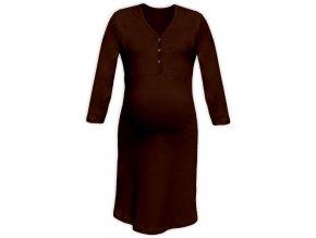 Těhotenská/kojící noční košile se 3/4 rukávem - hnědá