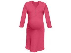 Těhotenská/kojící noční košile se 3/4 rukávem - lososově růžová, vel. L/XL