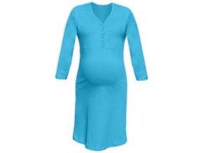 Těhotenská/kojící noční košile se 3/4 rukávem - tyrkysová