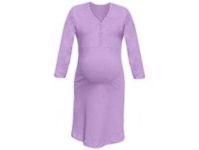 Těhotenská/kojící noční košile se 3/4 rukávem - levandulová