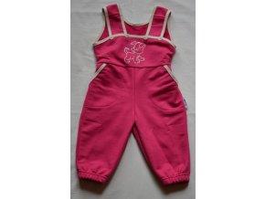 Tepláčky s laclem - Pejsek tm. růžový, vel. 86 a 98