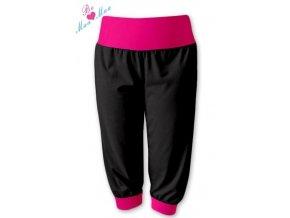 Sportovní 3/4 capri kalhoty černé/růžová