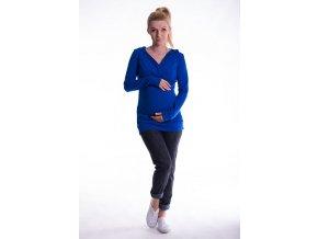 Těhotenské a kojící triko s kapucí chaber