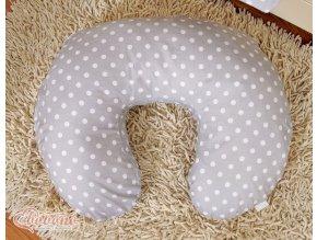 Povlak na kojící polštář - Srdíčka šedá s puntíčky
