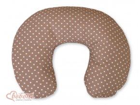 Povlak na kojící polštář - Srdíčka hnědá s puntíčky