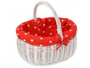 Proutěný košík Hvězdičky na červené