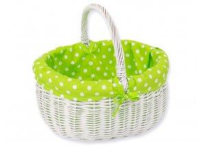 Proutěný košík Zelená s puntíčky