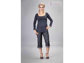 Těhotenské 3/4 kalhoty - Jeans černý melír, vel. S a M