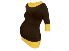 Dvoubarevná tunika se 3/4 rukávem - hnědá + žlutooranžová, vel S/M