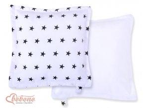 Polštářek Minky - Černé hvězdičky na bílé