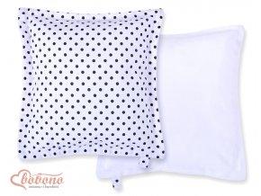 Polštářek Minky - Černé puntíčky na bílé