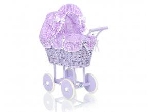 Kočárek pro panenku fialový - Kostička fialová