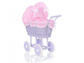 Kočárek pro panenku fialový - Kostička růžová