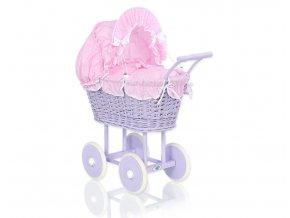 Kočárek pro panenku fialový - Růžová s tečkami