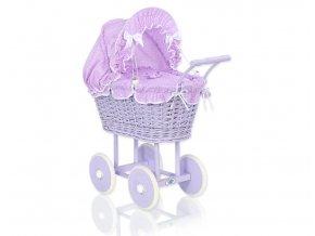 Kočárek pro panenku fialový - Fialová s tečkami