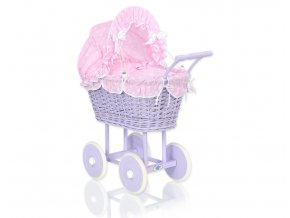 Kočárek pro panenku fialový - Růžová s puntíčky
