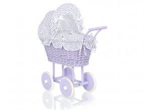 Kočárek pro panenku fialový - Granátové tečky na bílé