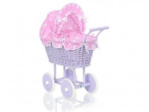 Kočárek pro panenku fialový - Bubbles Retro růžová