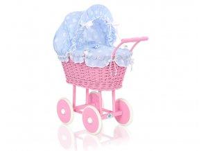 Kočárek pro panenku tm. růžový - Bubbles Retro modrá