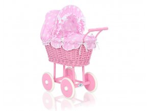 Kočárek pro panenku tm. růžový - Bubbles Retro růžová