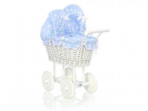 Kočárek pro panenku bílý - Bubbles Retro modrá