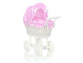 Kočárek pro panenku bílý - Bubbles Retro růžová