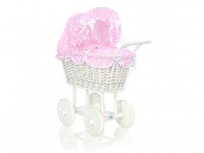 Kočárek pro panenku bílý - Růžová s puntíčky