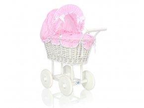 Kočárek pro panenku bílý - Kostička růžová