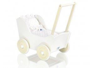 Dřevěný kočárek bílý s krémovou - Hvězdičky pískové