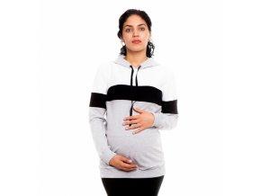 Těhotenská a kojící mikina - Ivet bílá/černá/šedá
