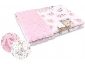 srnka a růže růžová deka minky