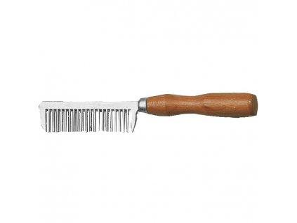 hliníkový hrebeň s drevenou rúčkou jazdecké potreby nz