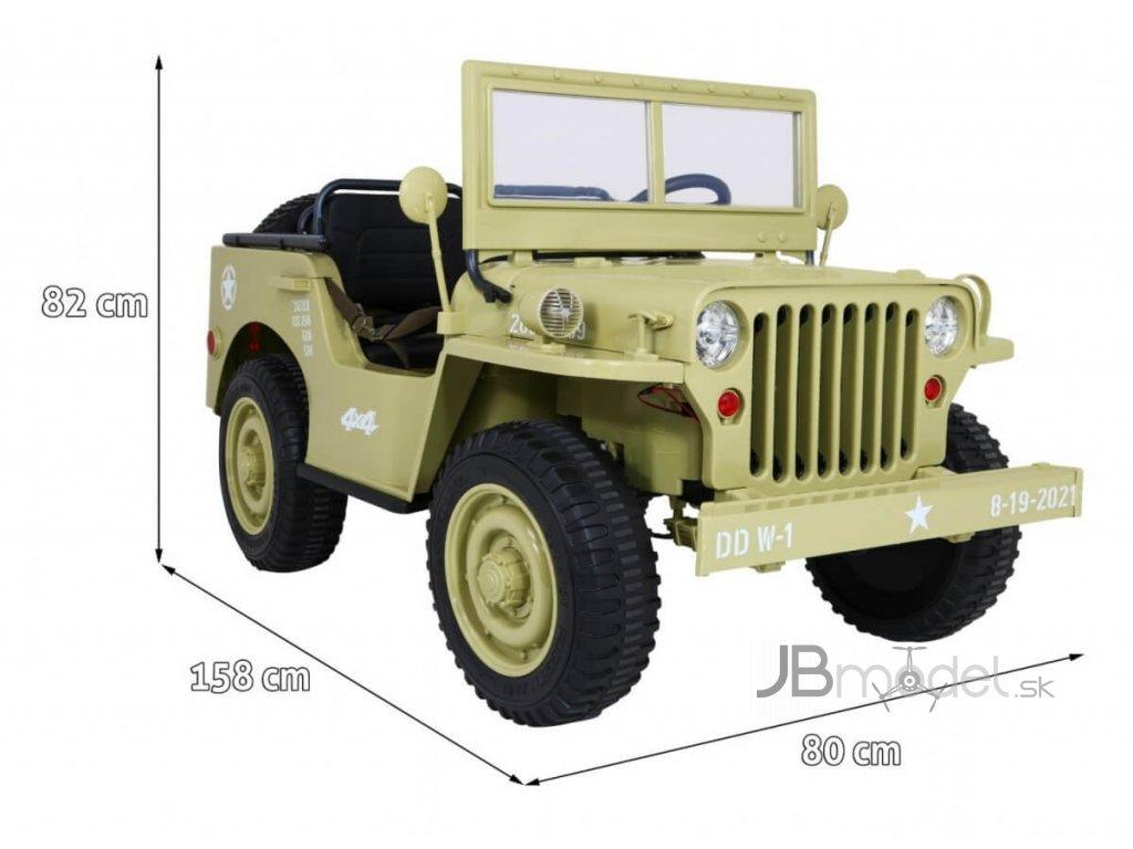 Elektrické autíčko Retro Military 4x45W béžová