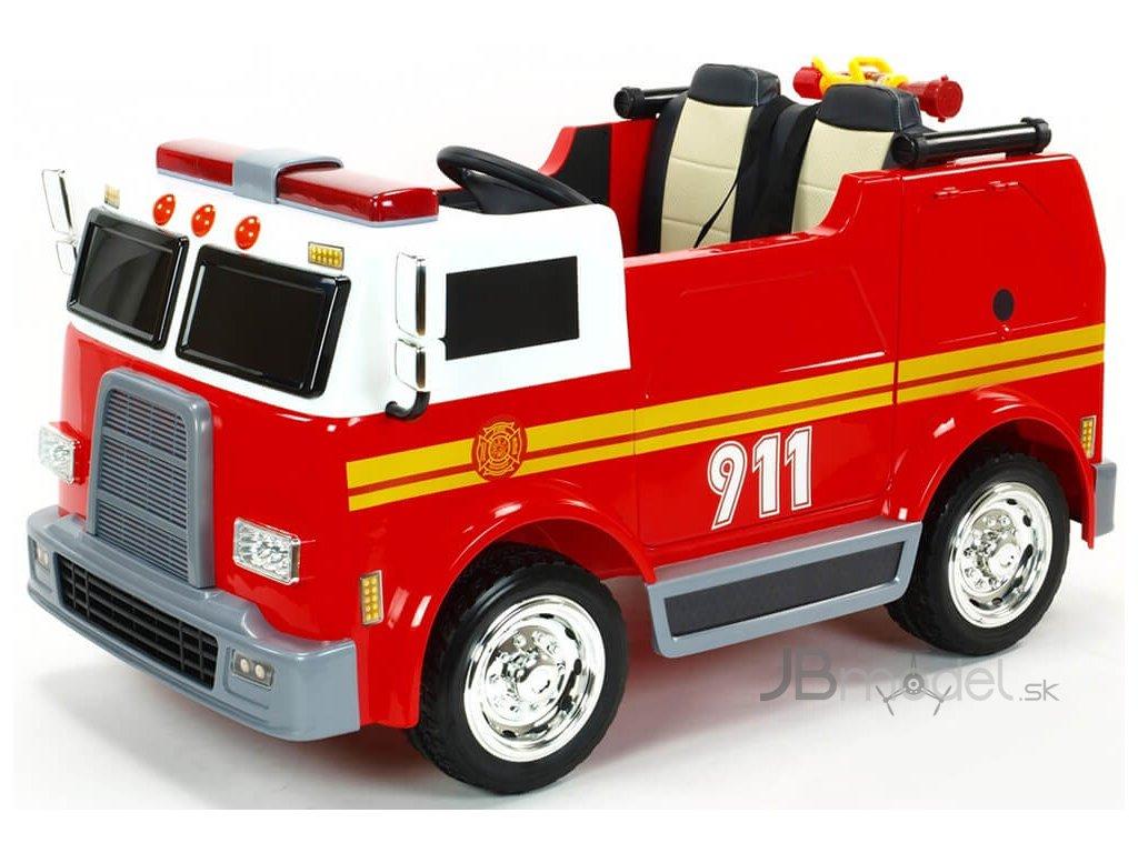 Elektrické autíčko - dojmiestne USA hasiči s funkčným interkomom, majákmi a vodným delom