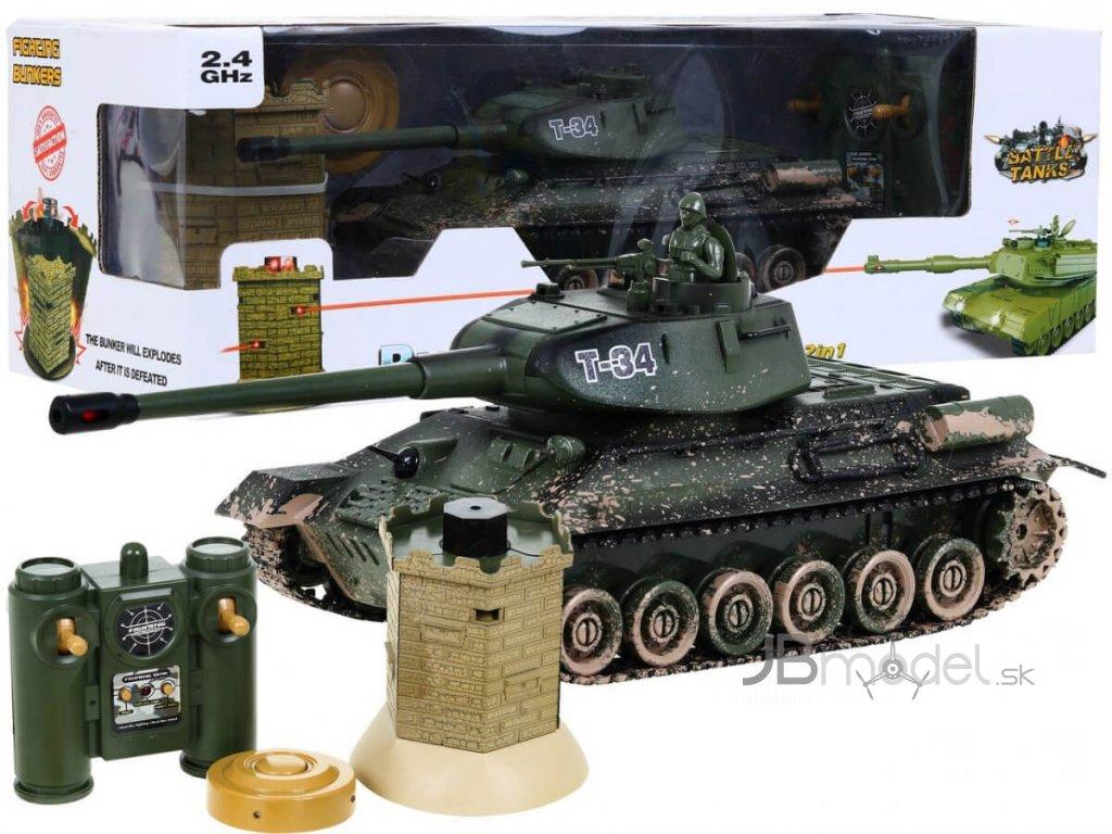 RC tank T-34 kamufláž 1:28 2.4 GHZ infra + interaktívny bunker