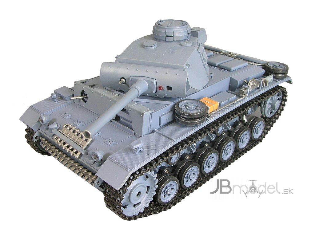 RC tank Panzerkampfwagen III 1:16 - airsoft, dym, zvuk, QC, drevená bedňa